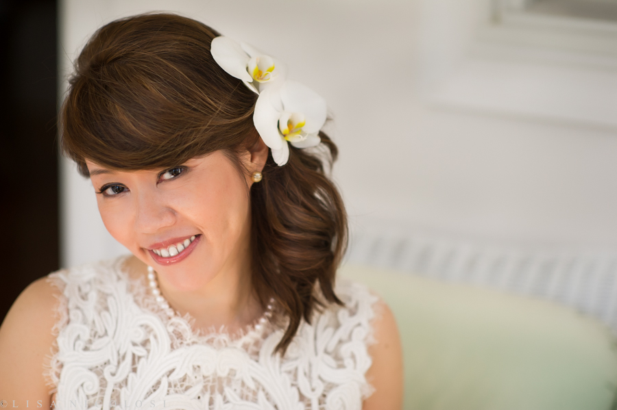 Ely's Bridal portrait with Orchids in her hair