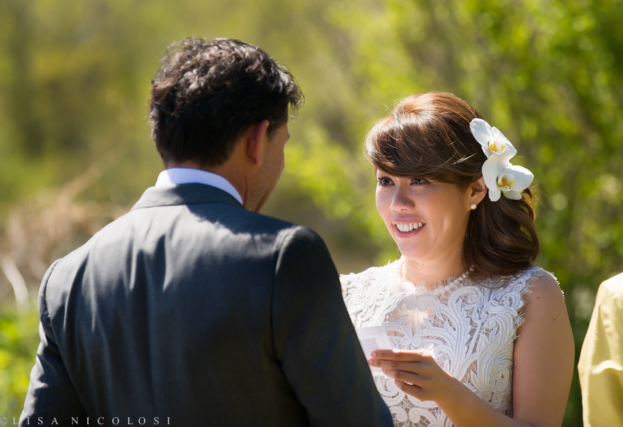 Ely & Frank's North Fork Backyard Wedding Ceremony - reading their vows