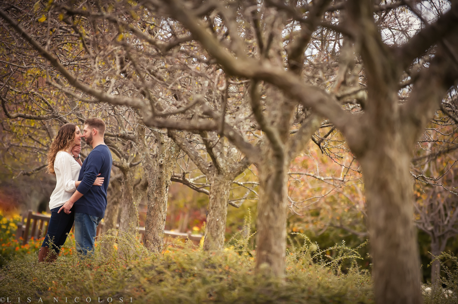 Romantic Long Island NY Fall Engagement Session at Caumsett State Park
