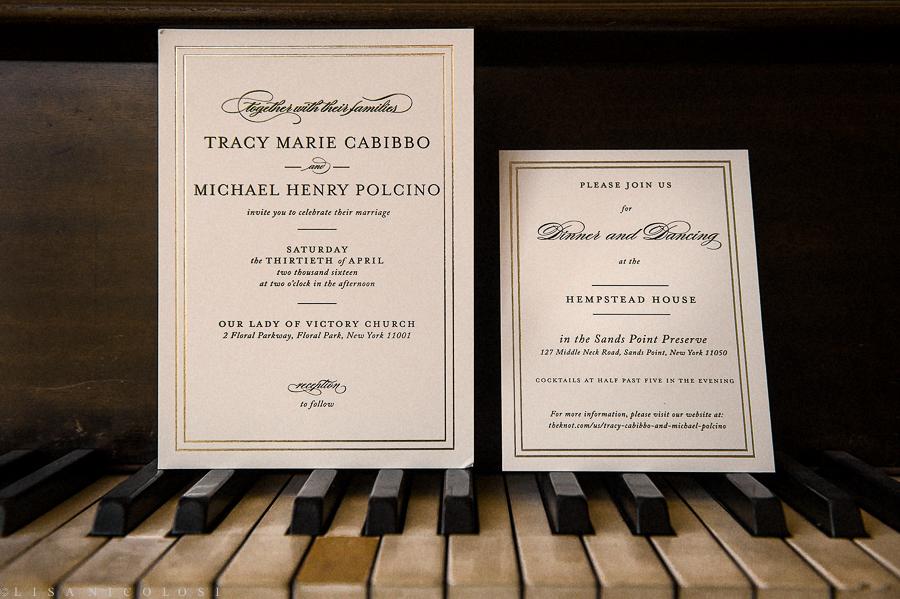 Wedding at The Hempstead House - Sands Point Preserve Wedding - Long Island Wedding Photographer - Wedding Invitation