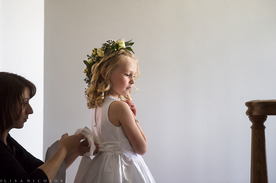 Wedding at The Hempstead House - Sands Point Preserve Wedding - Long Island Wedding Photographer - Flower crown - Flower girl