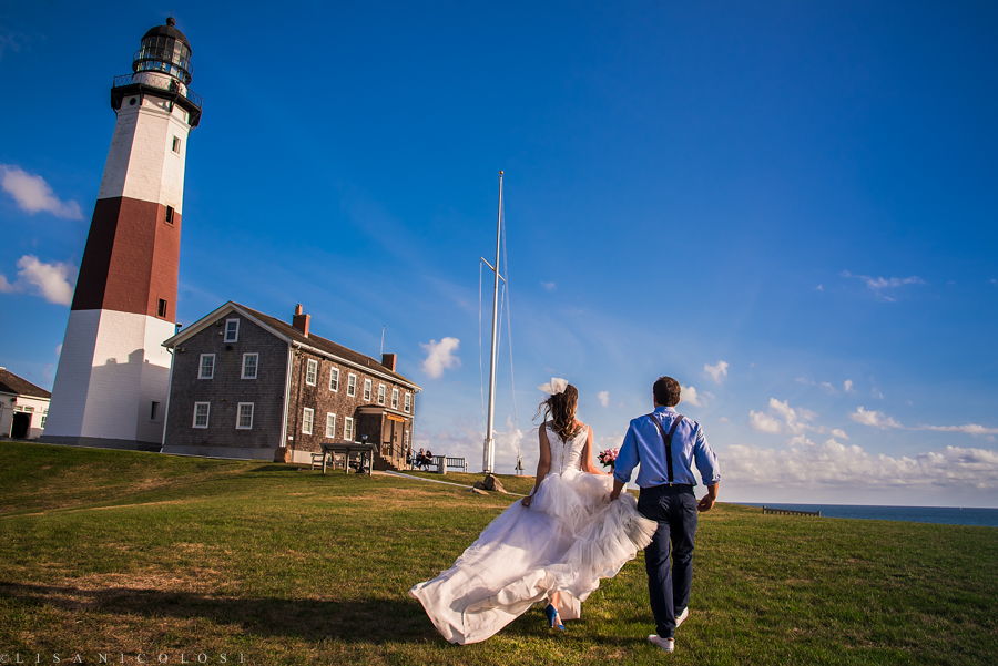 Bride and groom walking after their wedding ceremony at the Montauk Lighthouse - Montauk Wedding Photographers