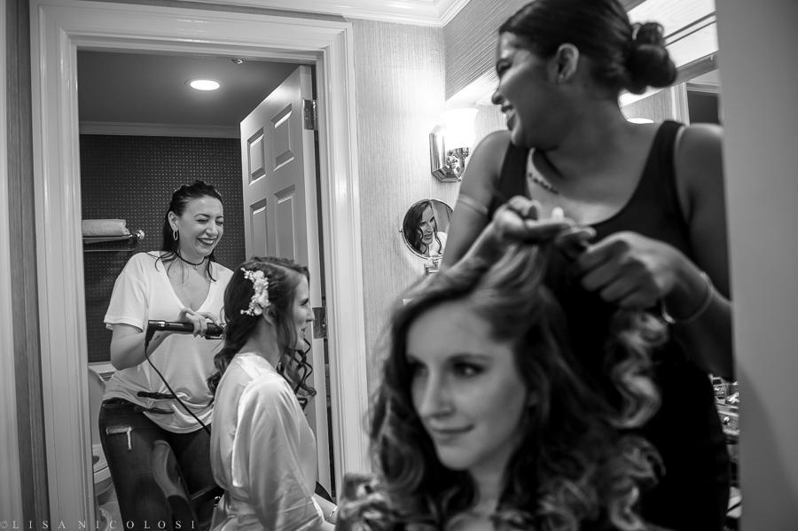 Wedding Bride getting ready at The Inn at Fox Hollow Woodbury NY