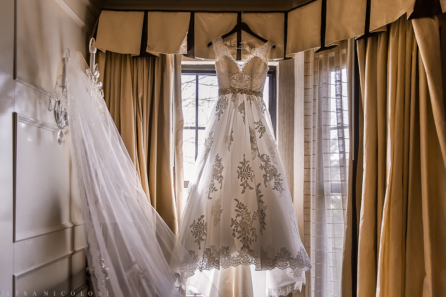 Wedding at Fox Hollow Catering in Woodbury - Long Island Wedding Photographer - The Inn at Fox Hollow hotel - wedding gown