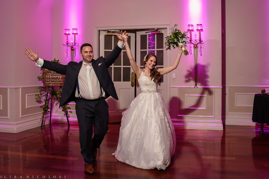 Wedding in The Somerley Room at Fox Hollow - Fox Hollow Wedding Photographer - Bride and Groom grand entrance