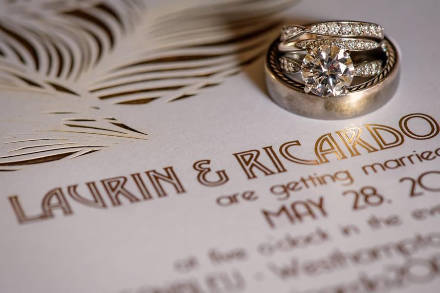Oceanbleu Wedding Photographer - Westhampton Beach NY - Wedding rings and invitation
