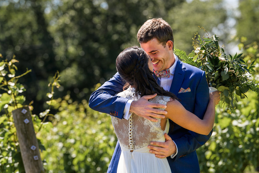 Wolffer Estate Wedding Photographer - Bride and Groom First Look - East End Hamptons Wedding Photographer