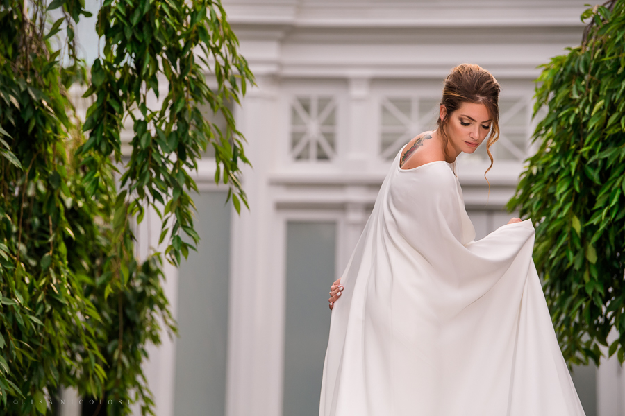 New York Botanical Wedding Photographer - Bride wearing a Pronovias Wedding Dress and Cape - NYBG Wedding Photos
