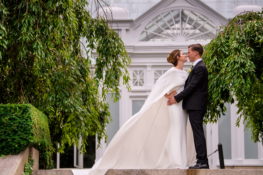 New York Botanical Wedding Photographer - New York Botanical Garden Wedding Photography -Bride and Groom Portraits at Enid A. Haupt Conservatory