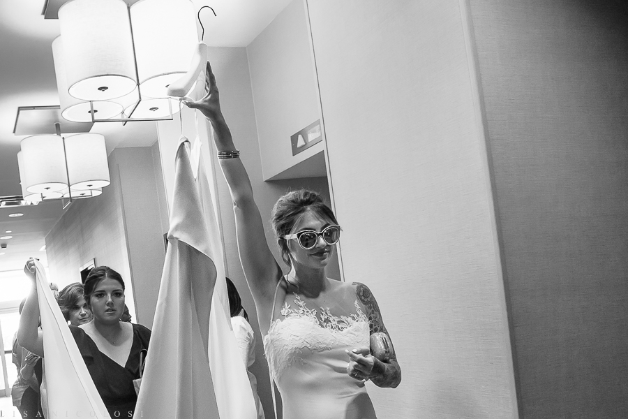 Bride getting ready at The Hyatt Place in Yonkers - New York Botanical Garden Wedding Photographer