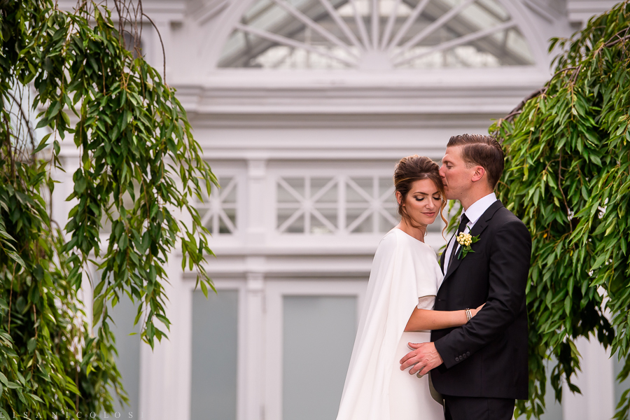 Romantic Bride and Groom Portrait at New York Botanical Garden - New York Botanical Garden Wedding Photographer