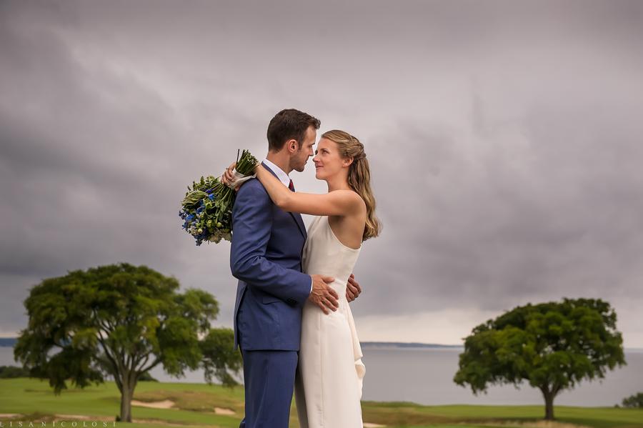 Sebonack Golf Club Wedding Photos - East End Wedding Photographer - Southampton Wedding - Portrait of bride and groom on golf course