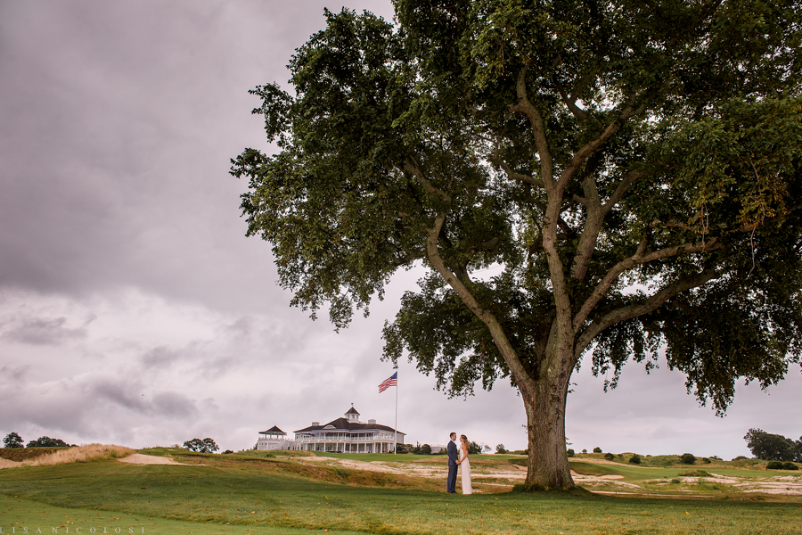 Sebonack Golf Club Wedding Photos - East End Wedding Photographer - Sagaponack NY - Wedding in Sagaponack - Portrait of bride and groom on golf course