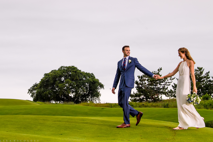 Sebonack Golf Club Wedding Photos - East End Wedding Photographer - Southampton Wedding - Portrait of bride and groom on golf course