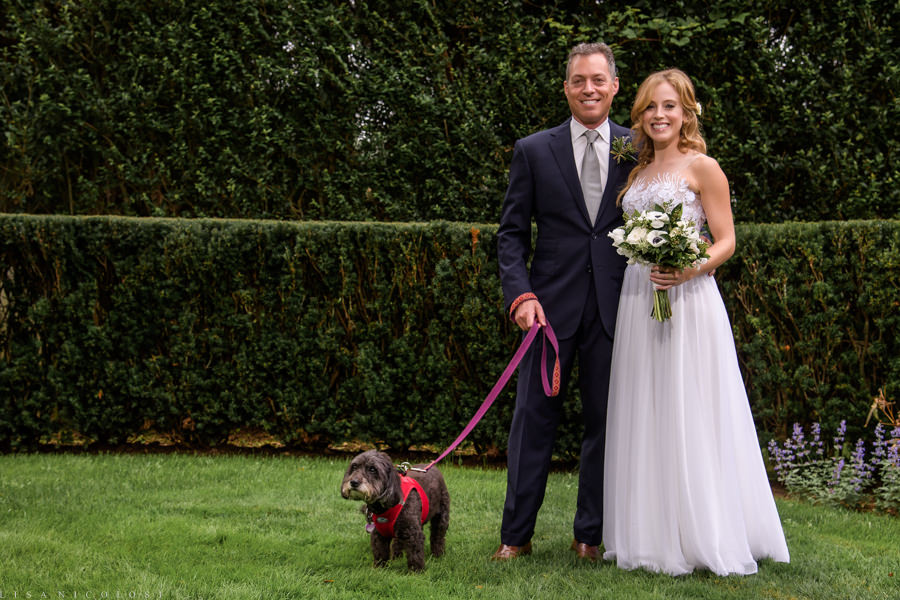 Intimate Backyard Hamptons Wedding - East End Wedding Photographer - Bride and Groom Portrait with Dog