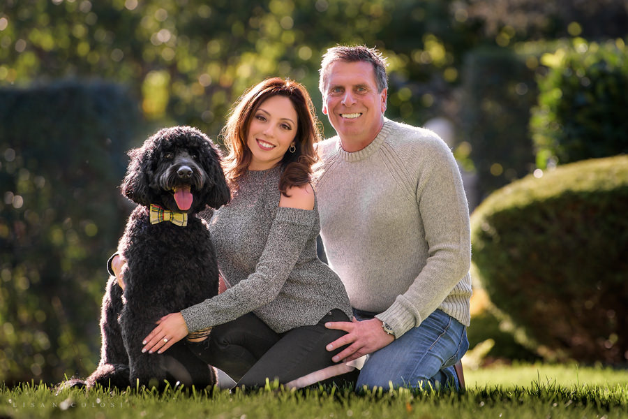 Best Long Island Engagement Photographer - East End Wedding Photographer - Couple and dog Engagement Portraits - Oyster Bay