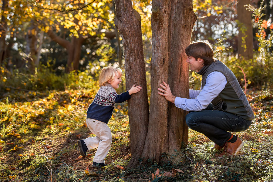 Long Island Children - Family - portrait photographer - Father and son playing peekaboo