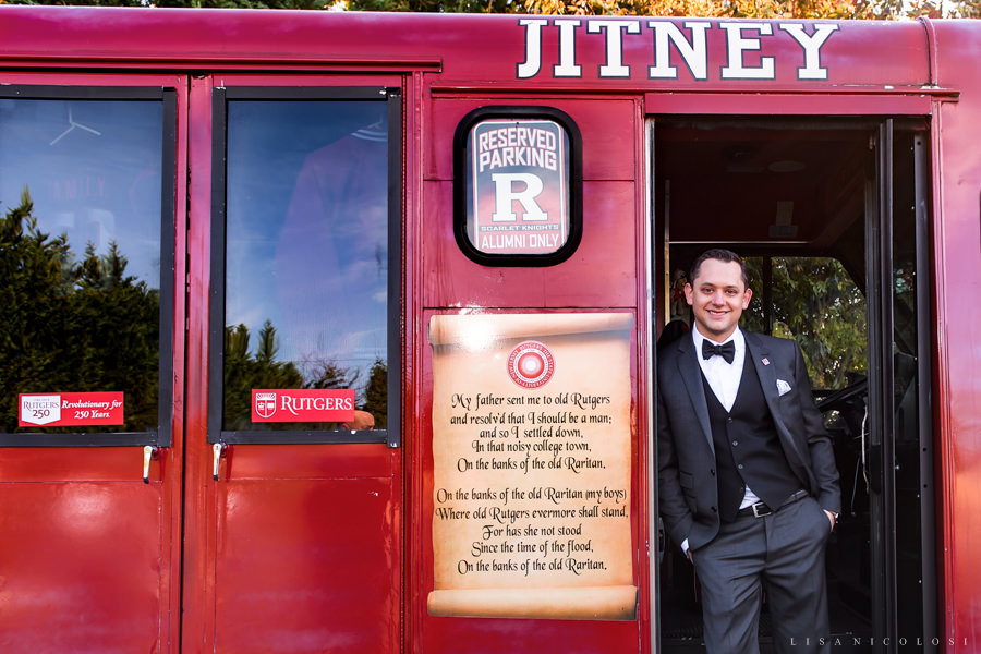 NJ Wedding Photographer - Rutgers Wedding - Groom Portrait - Rutgers Jitney