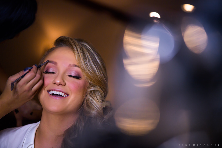 NJ Wedding at The Madison in Riverside - Bride getting makeup done - NJ Wedding Photographer