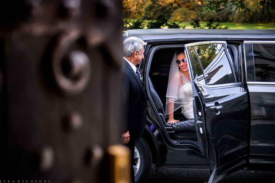 Planting Fields Wedding Photographer -Wedding Ceremony at Coe Hall Mansion - Long Island Wedding Photography - Bride arriving in limo
