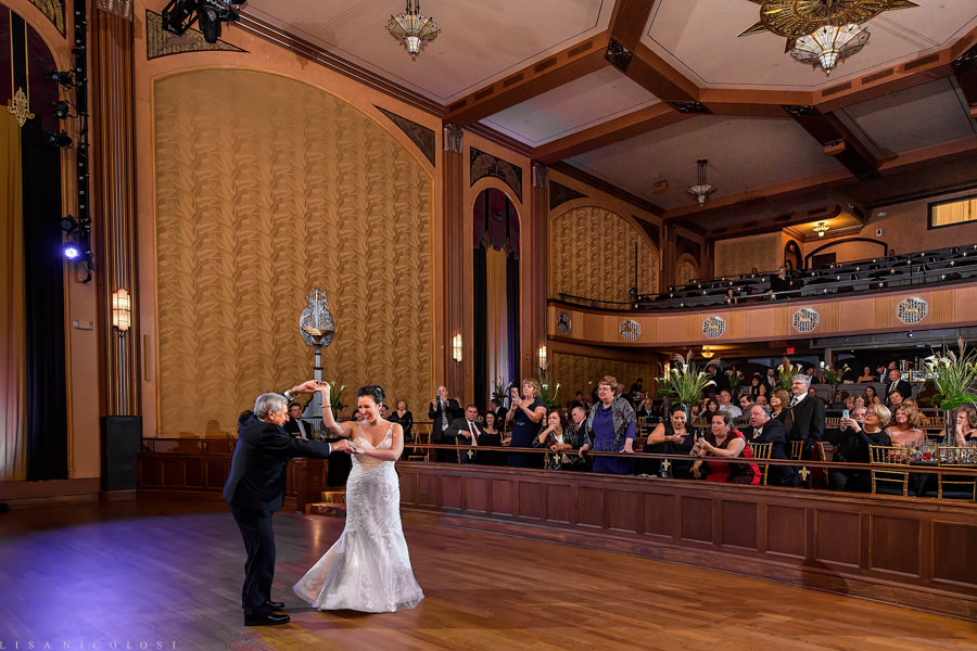 Suffolk Theater Wedding Photographer - North Fork Wedding Photographer - Wedding Reception - Bride Dancing with Father