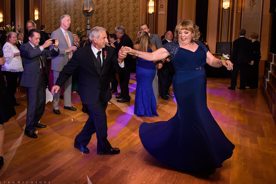 Suffolk Theater Wedding Photographer - North Fork Wedding Photographer - Wedding Reception - Parents Dancing