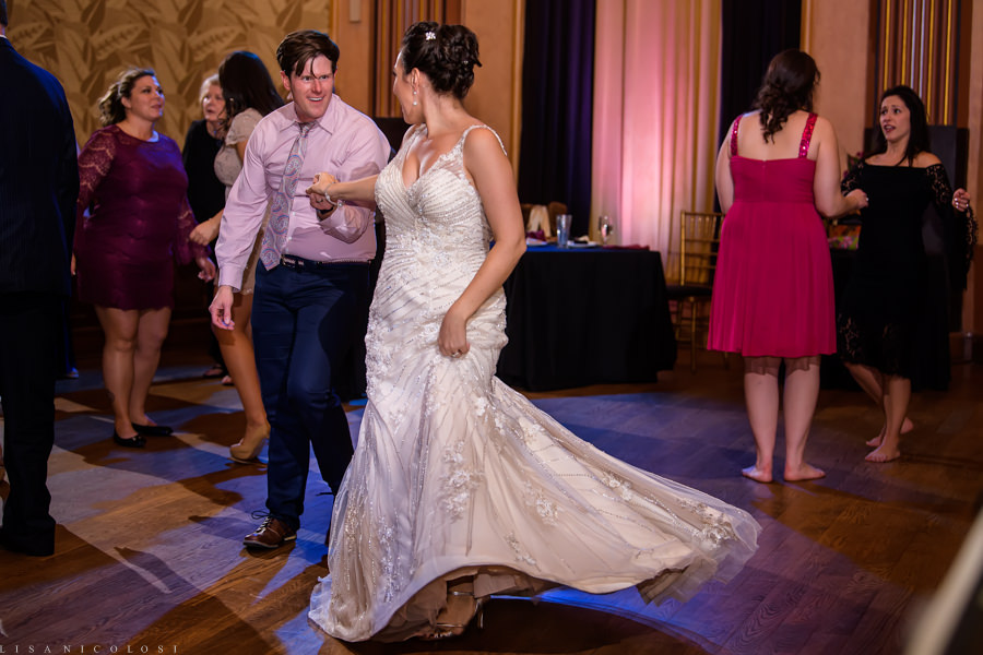 Suffolk Theater Wedding Photographer - North Fork Wedding Photographer - Wedding Reception - Bride Dancing
