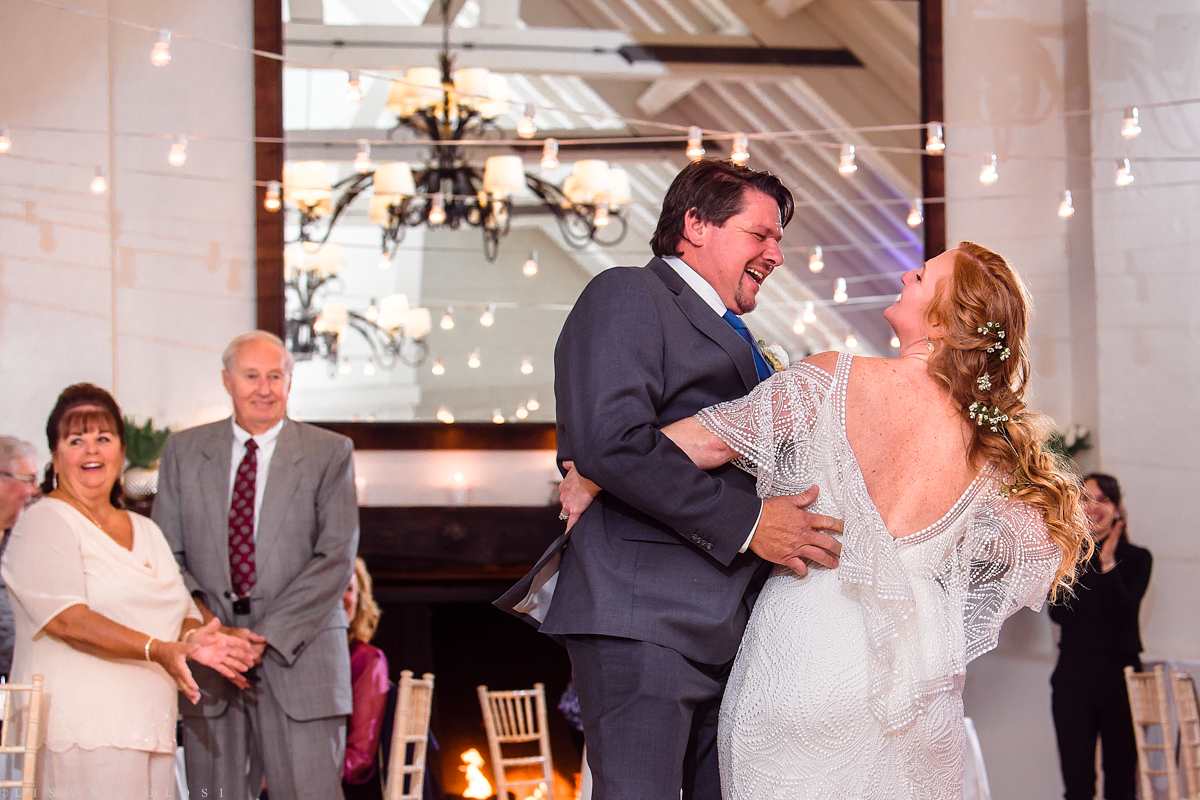 Wedding Reception at Montauk Yacht Club - Montauk Wedding Photographer - Bride and Groom first Dance