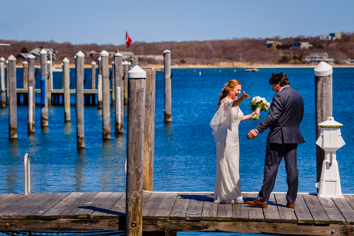 Montauk Yacht Club Wedding - Bride and groom first look - Long Island Wedding Photographer