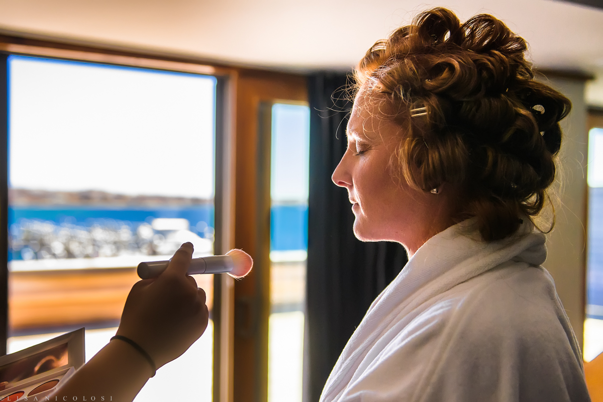 Bride getting ready at The Montauk Yacht Club - Montauk Wedding Photos