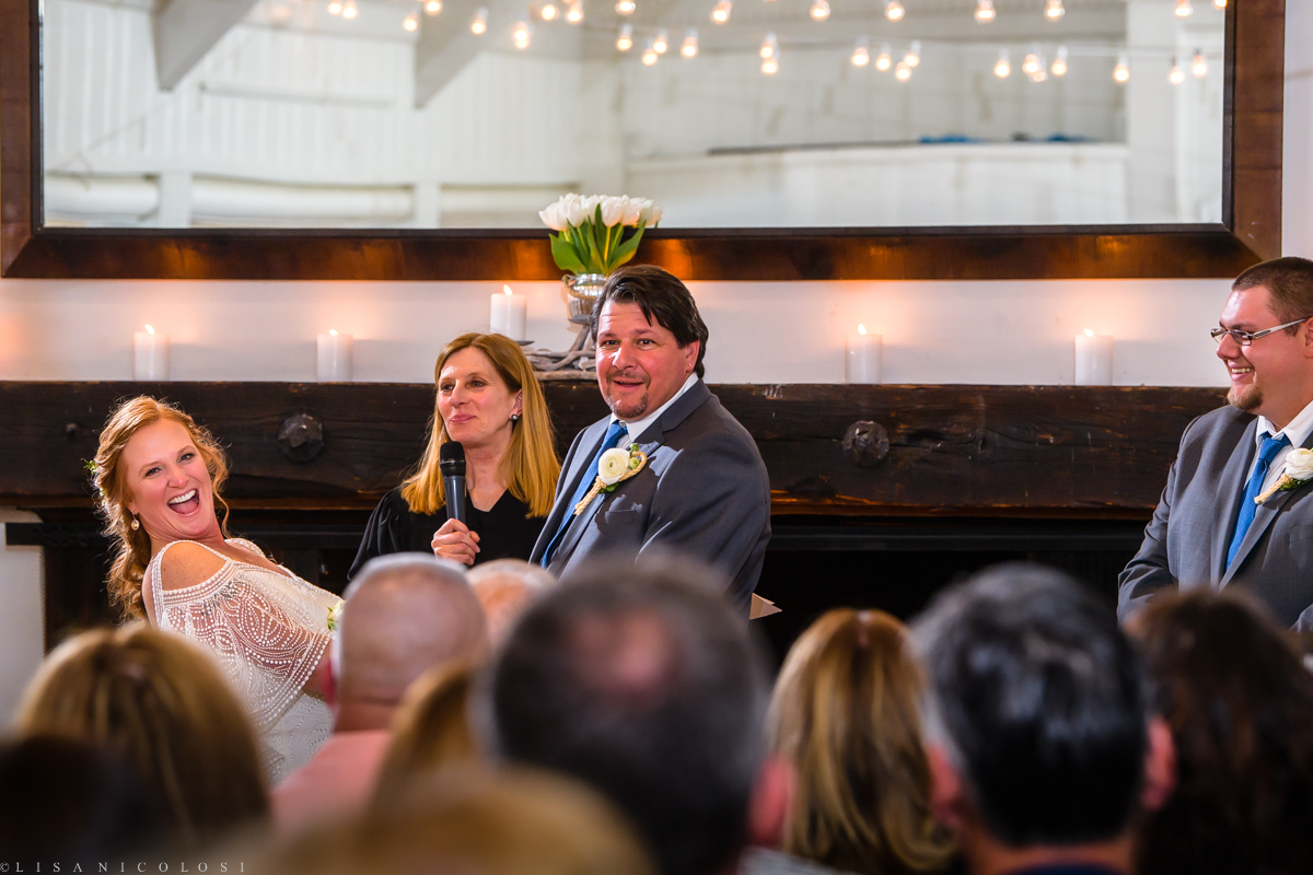 Wedding ceremony at Montauk Yacht Club - Montauk Wedding Photographer