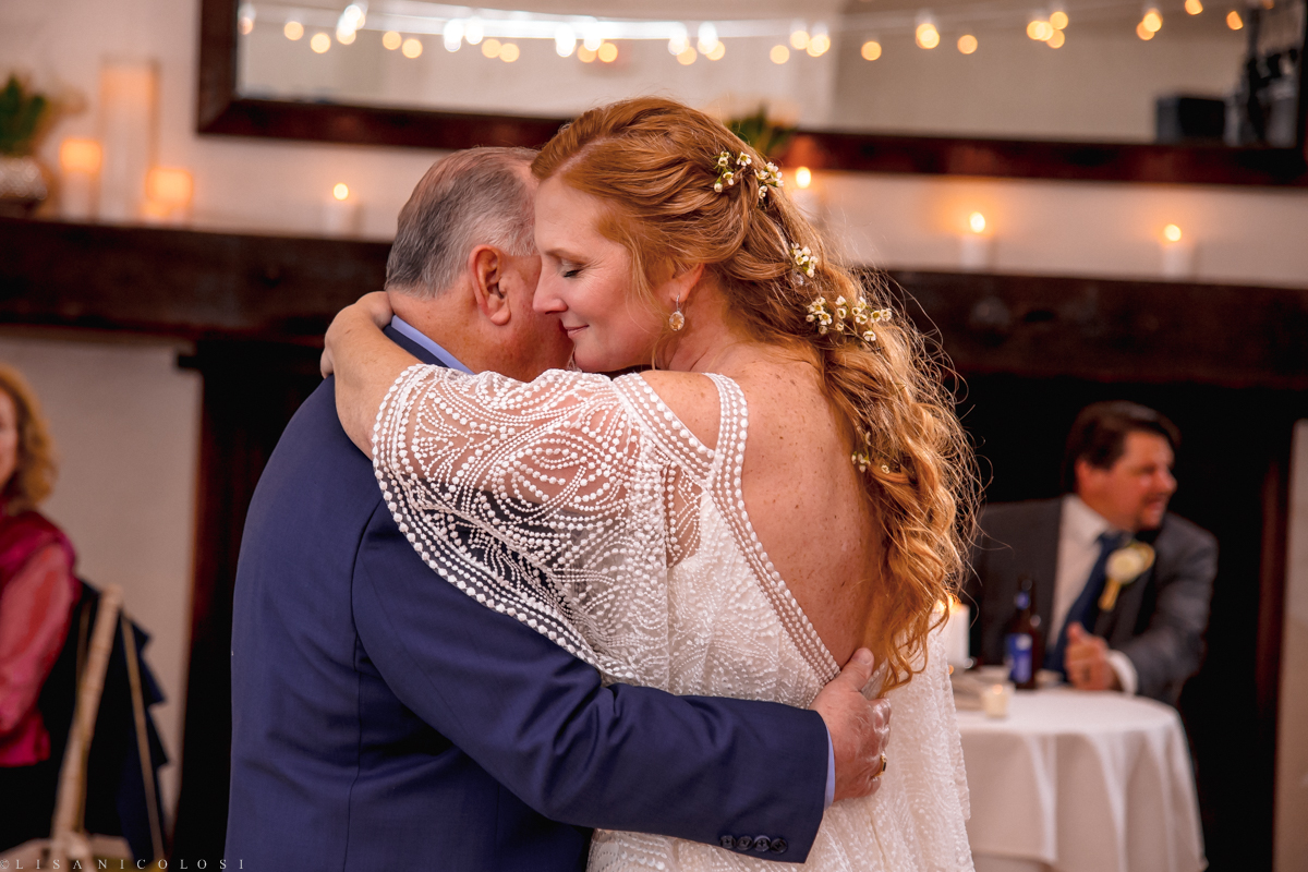 Wedding Reception at Montauk Yacht Club - Montauk Wedding Photographer - Bride and father Dance