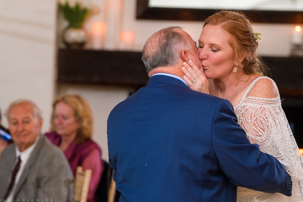 Wedding Reception at Montauk Yacht Club - Montauk Wedding Photographer - Bride and Dad dance