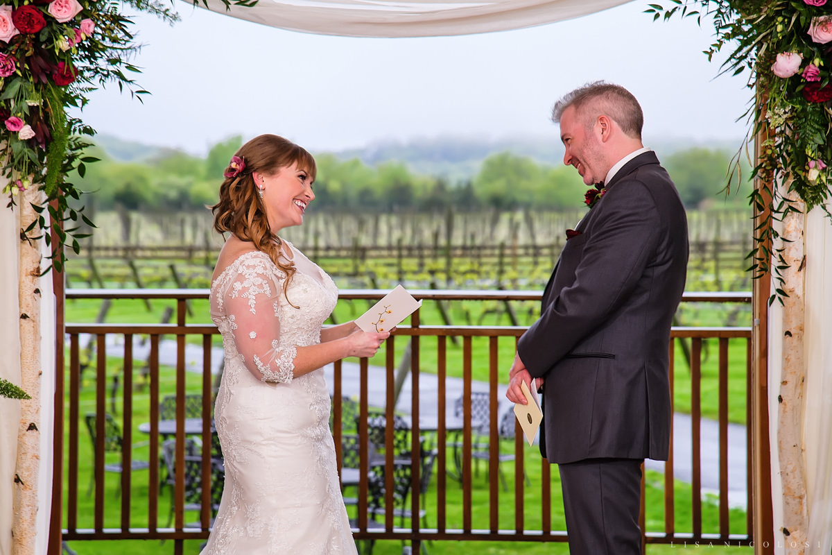 Macari Vineyard Wedding Photography - North Fork Wedding Photographer- Wedding Ceremony - reading vows