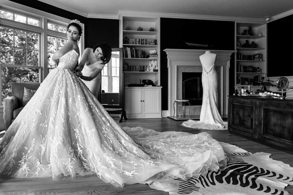 Bride getting ready - North Fork Wedding at private residence in Cutchogue