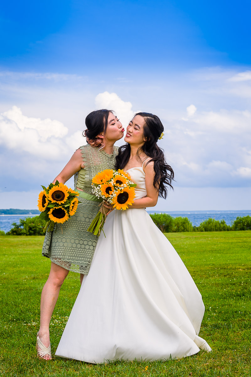 Wedding Photography at The Old Field Vineyard - Best Long Island Wedding Photographer - Bride and Maid of Honor