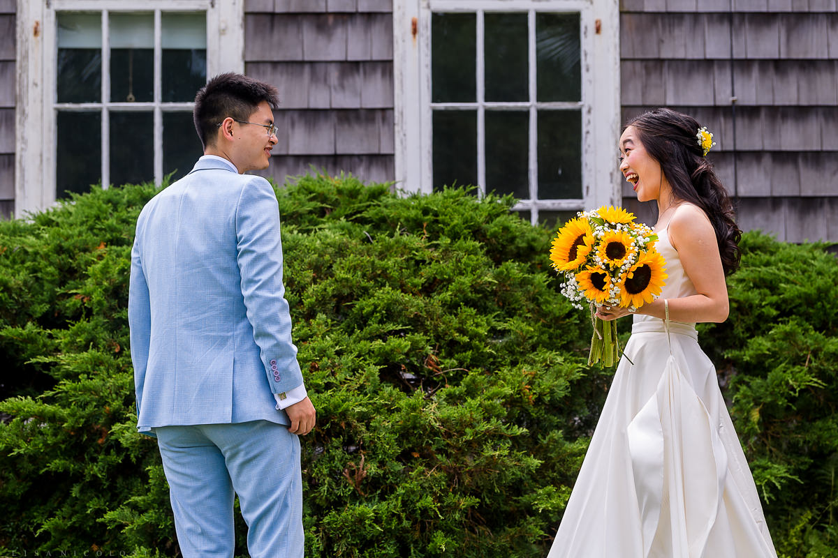 Wedding at The Old Field Vineyard - Best Long Island Wedding Photographer - Bride and groom first look
