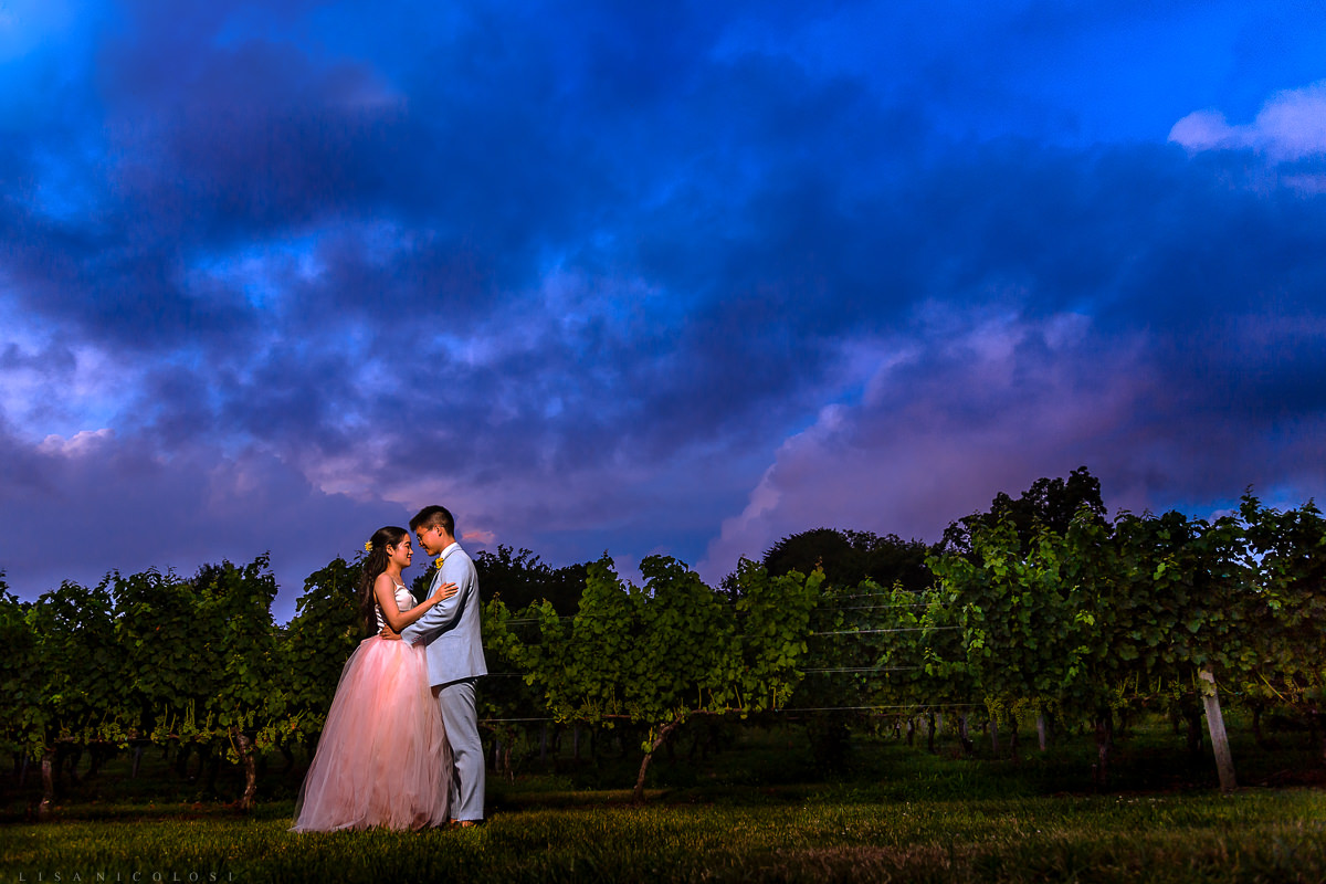 North Fork Wedding Photographer - Southold Wedding Photographer -The Old Field Vineyard - Bride and groom Sunset Portrait