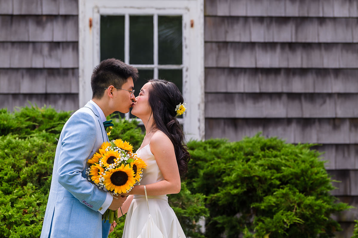 Wedding Photography at The Old Field Vineyard - Best Long Island Wedding Photographer - Bride and groom kiss