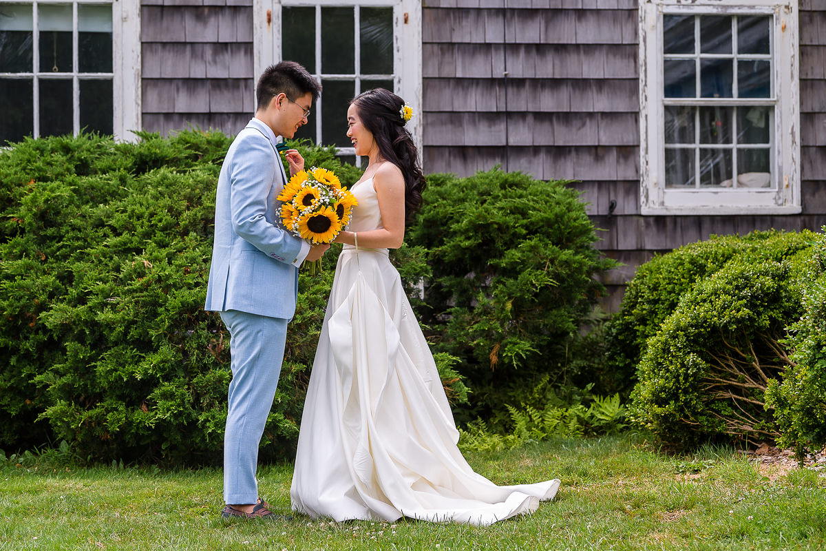Wedding Photography at The Old Field Vineyard - Best Long Island Wedding Photographer - Bride and groom first look