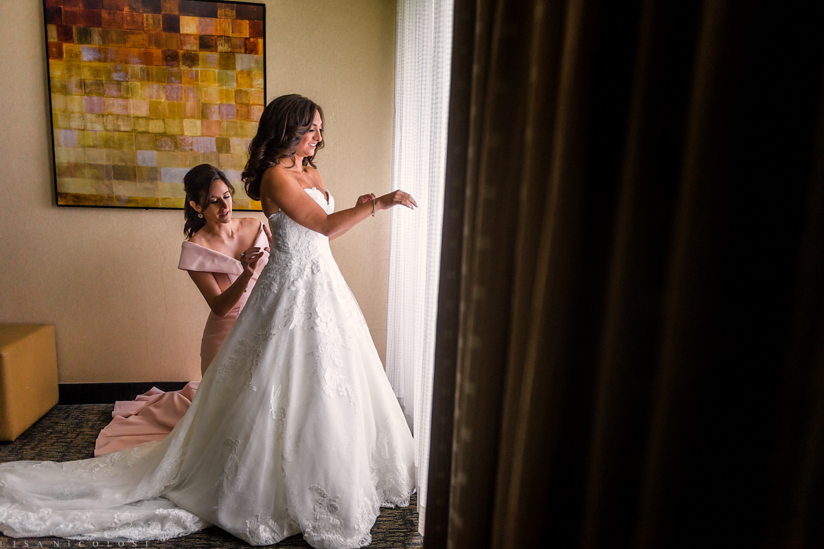 Wedding at Congregation B'nai Tikvah - Bride getting ready at The Hyatt Regency in North Brunswick New Jersey - NJ Wedding Photographer