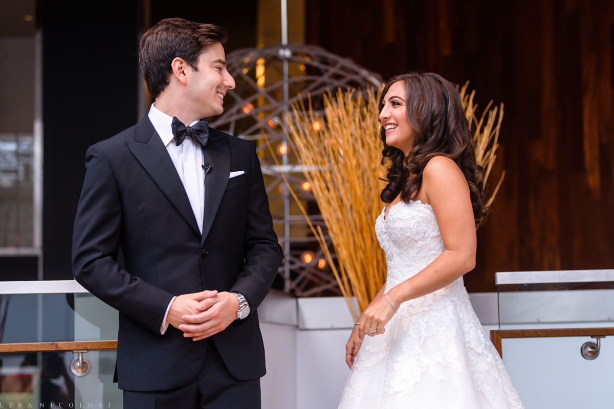 Wedding at Congregation B'nai Tikvah- Bride and groom first look at The Hyatt Regency in North Brunswick New Jersey - NJ Wedding Photographer