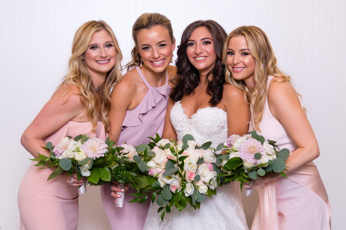 Wedding at Congregation B'nai Tikvah - Bride and Bridesmaids portrait - NJ Wedding Photography - The Hyatt Regency in North Brunswick New Jersey