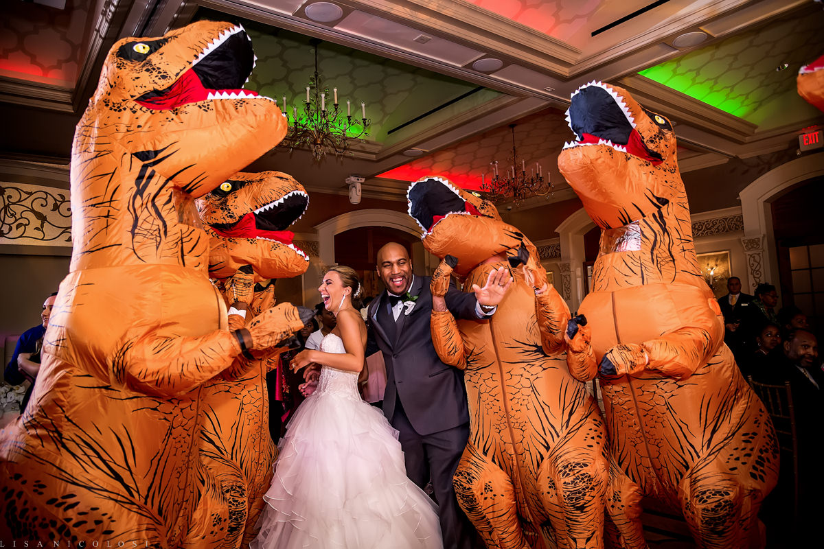 Wedding at The Larkfield - Wedding Reception - T-Rex Dinosaur costumes-Long Island Wedding Photographer