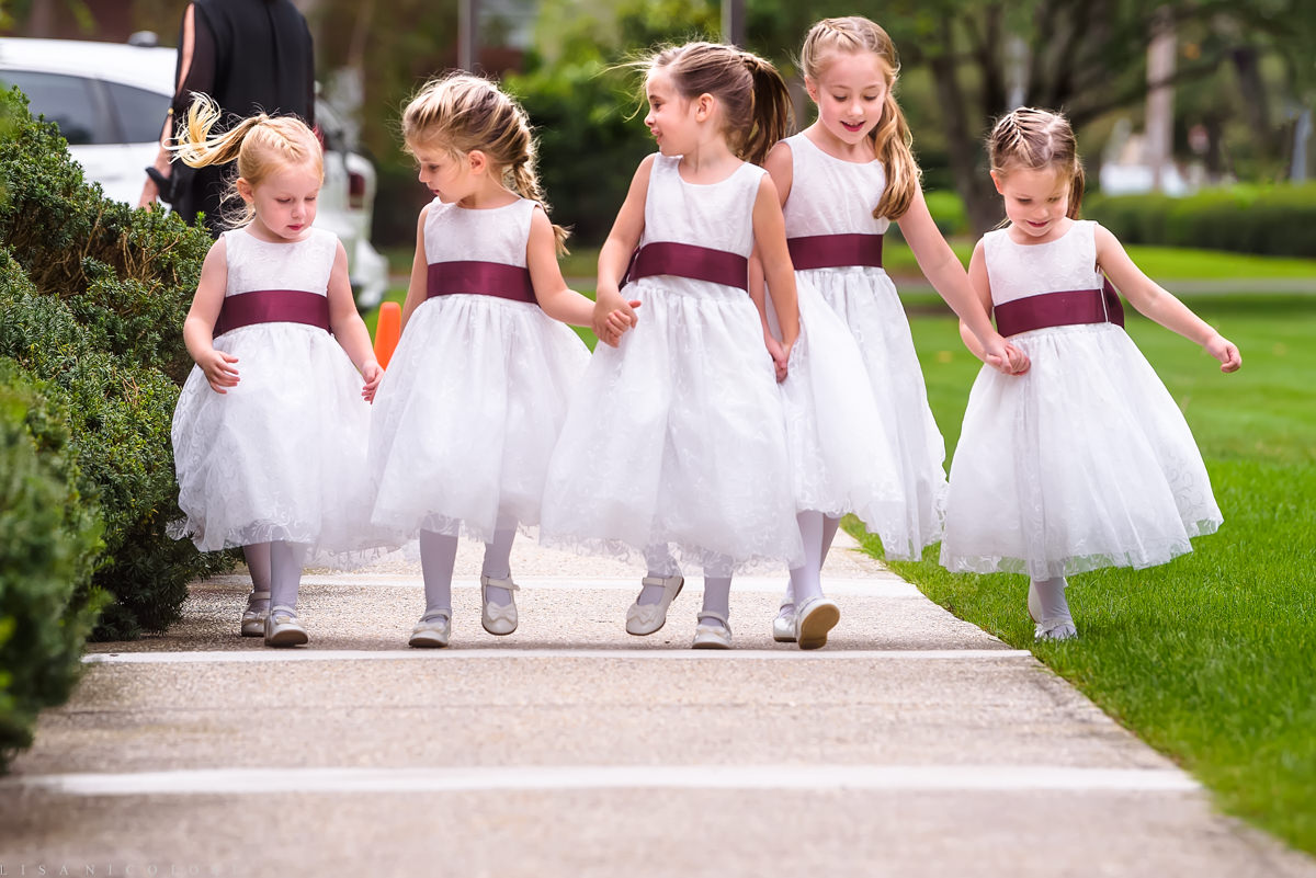 North Fork Weddings - North Fork Wedding Photographer -Flower Girls walking to ceremony at Our Lady of Good Counsel Church Wedding - Mattituck Wedding Ceremony