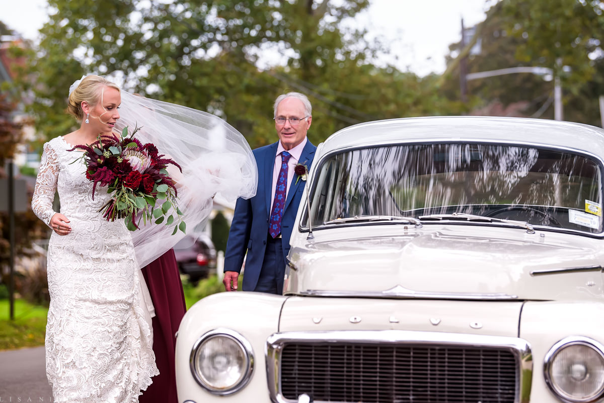 North Fork Weddings - North Fork Wedding Photographer - Bride arriving to ceremony with her Dad in a classic Volvo Amazon -Our Lady of Good Counsel Church Wedding - Mattituck Wedding Ceremony