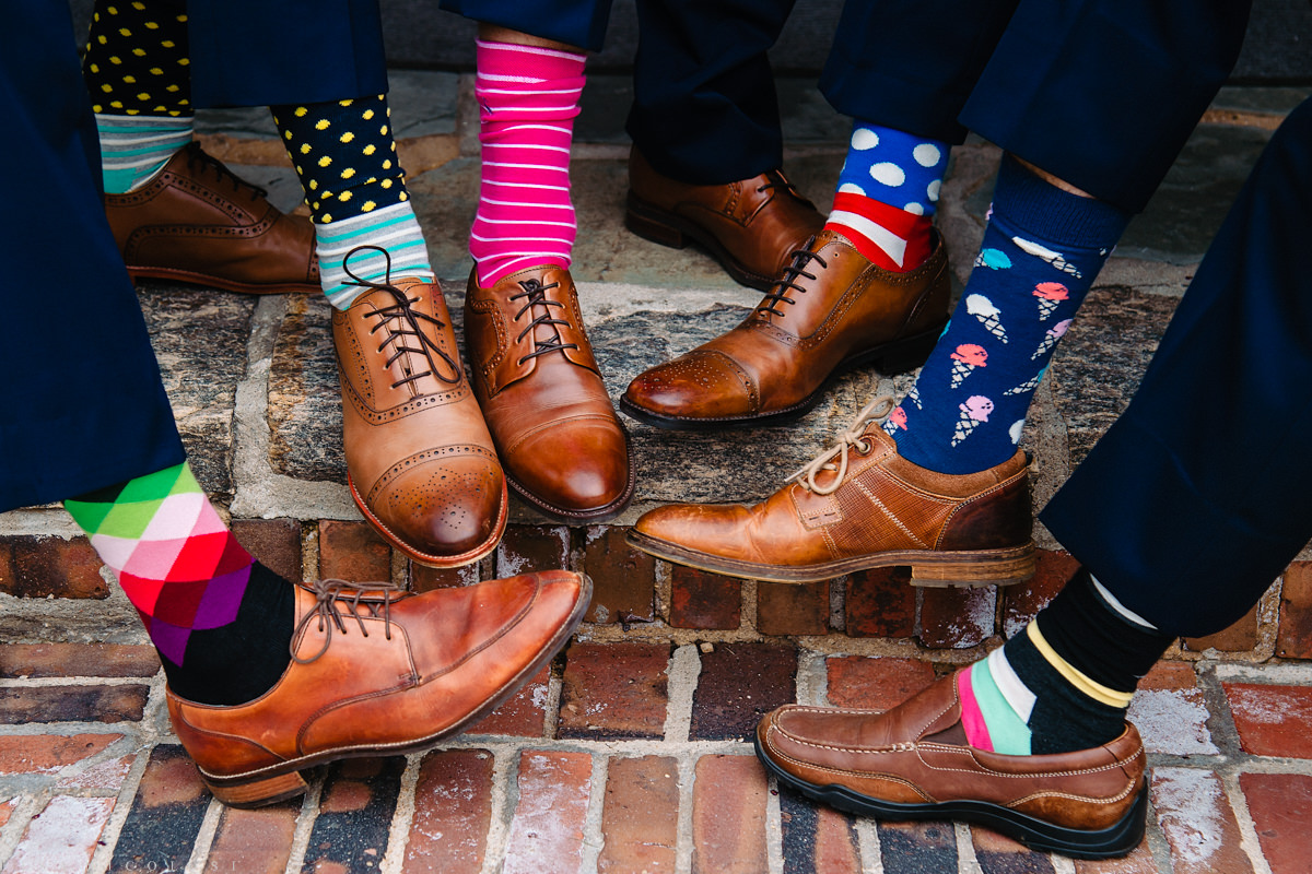 North Fork Weddings - North Fork Wedding Photographer - Our Lady of Good Counsel Church Wedding - Groom and Groomsmen socks