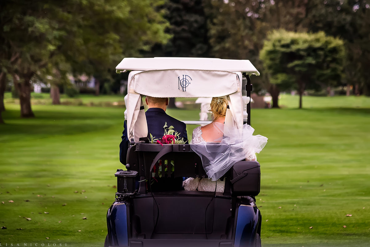 North Fork Weddings - North Fork Country Club -Bride and Groom portraits - North Fork Wedding Photographer - Bride and groom in golf cart - Cutchogue Wedding