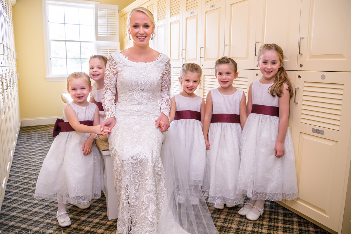 Wedding at The North Fork Country Club - North Fork Wedding Photographer - Bride and Flower girls -North Fork Weddings