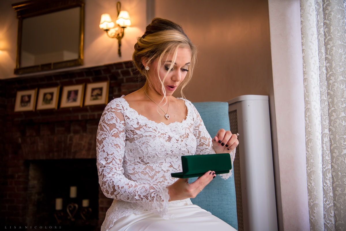 Wedding at Chateau at Coindre Hall - Long Island Wedding Photographers - bride opening gift